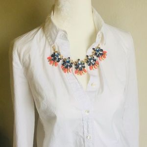 J. Crew Blue and Coral Crystal Necklace